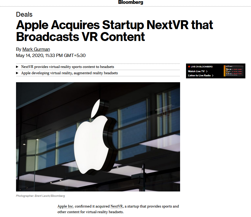 Apple Acquires VR Startup